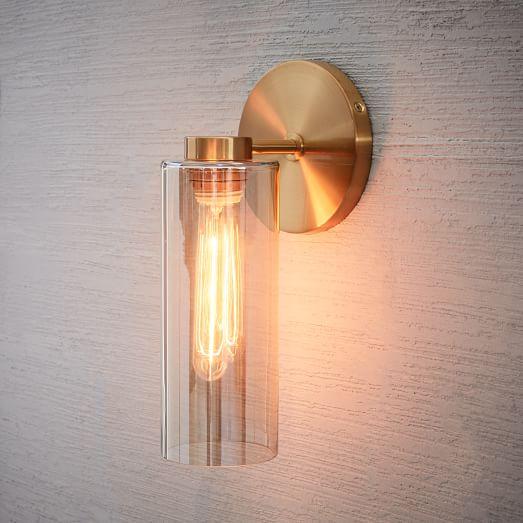glass cylinder sconce single antique brass champagne luster west elm. Black Bedroom Furniture Sets. Home Design Ideas