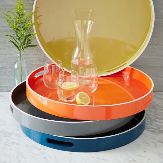 lacquer colorful round trays