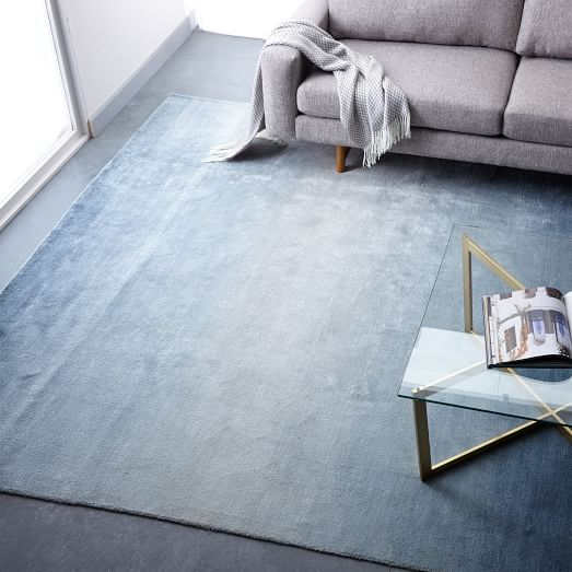 Ombre Shine Wool Rug Blue Lagoon West Elm