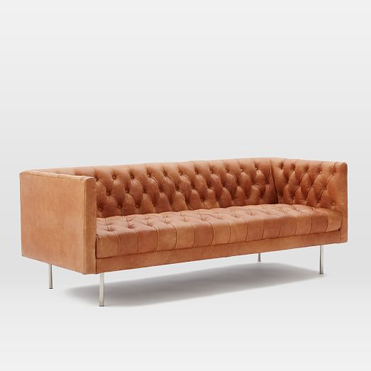 modern chesterfield leather sofa west elm. Black Bedroom Furniture Sets. Home Design Ideas