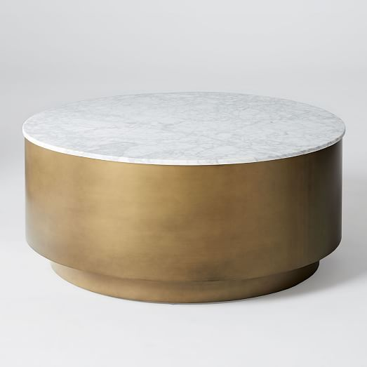 Marble Metal Drum Coffee Table West Elm