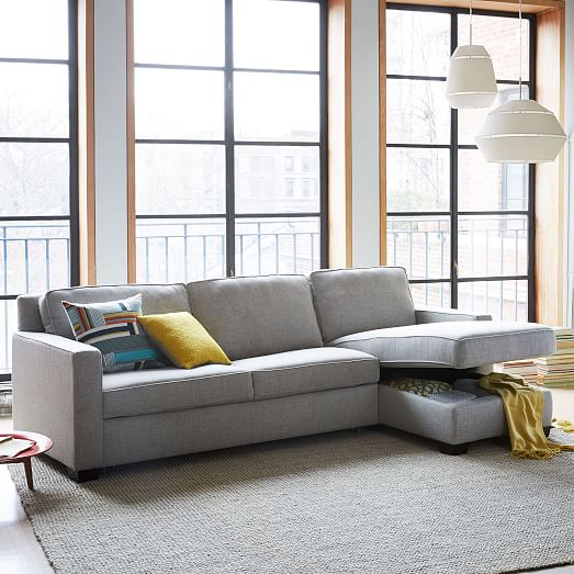 Henry® 2-Piece Pull-Down Sleeper Sectional w/ Storage ...