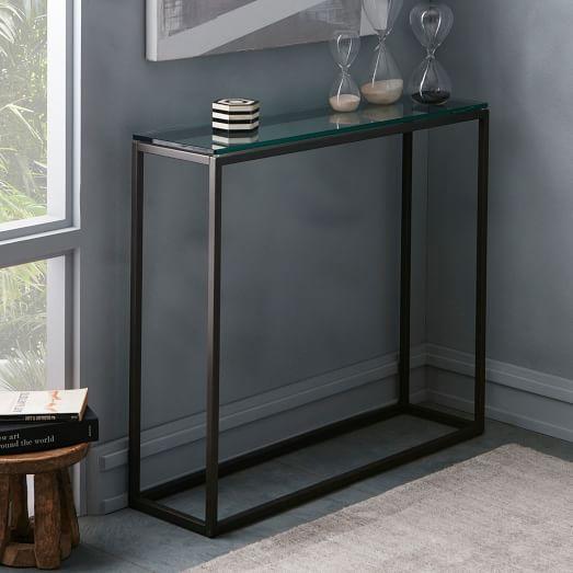 Box frame console glass antique bronze west elm