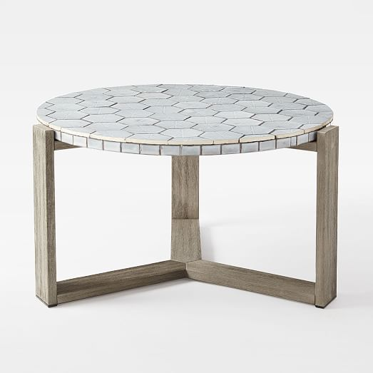 Mosaic Tiled Coffee Table - Gray Spider Web Top