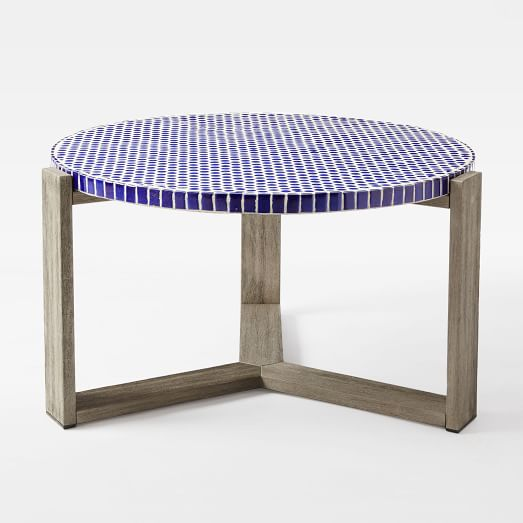 Mosaic Tiled Coffee Table - Blue Penny Top