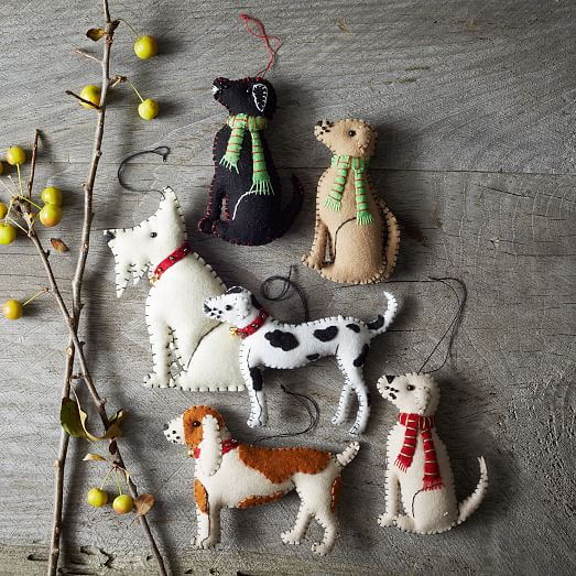 Stitched dog ornament dalmation west elm