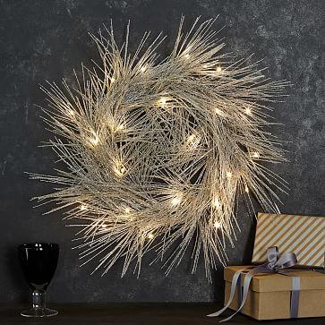 LED Light-Up Tinsel Wreath west elm