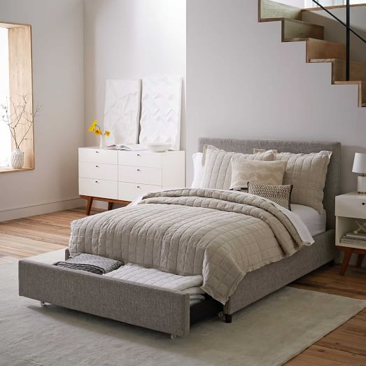 Contemporary Upholstered Storage Bed Heathered Tweed