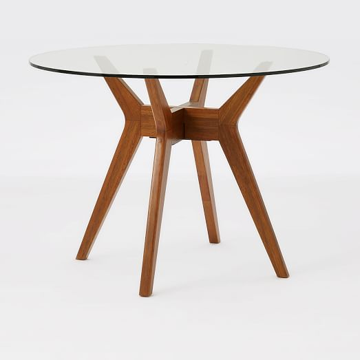 Jensen round glass dining table west elm for Round glass dining table