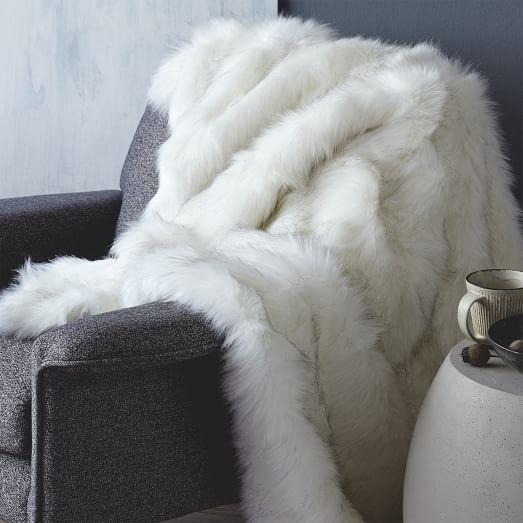 faux fur brushed tips throw west elm. Black Bedroom Furniture Sets. Home Design Ideas