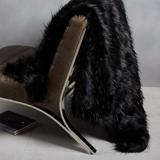 faux fur high sheen throw black west elm. Black Bedroom Furniture Sets. Home Design Ideas