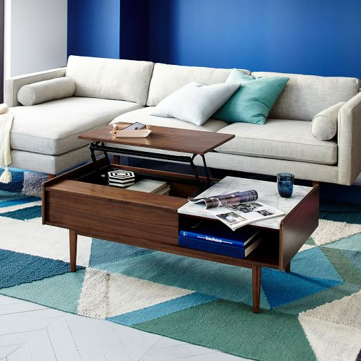 Mid century pop up storage coffee table west elm for Pop up coffee table