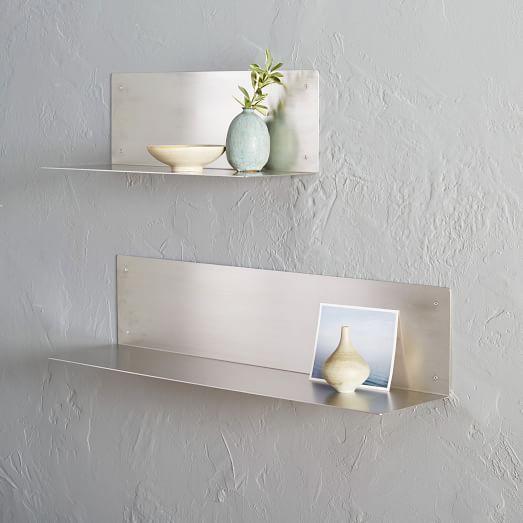floating l shelves stainless steel west elm. Black Bedroom Furniture Sets. Home Design Ideas