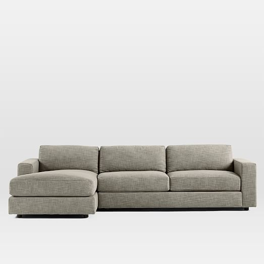 Urban 2 piece chaise sectional heathered tweed west elm for Chaise urban but