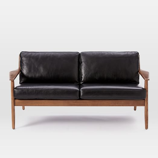Wood Frame Sofa : Mathias Mid-Century Wood Frame Leather Sofa  west elm