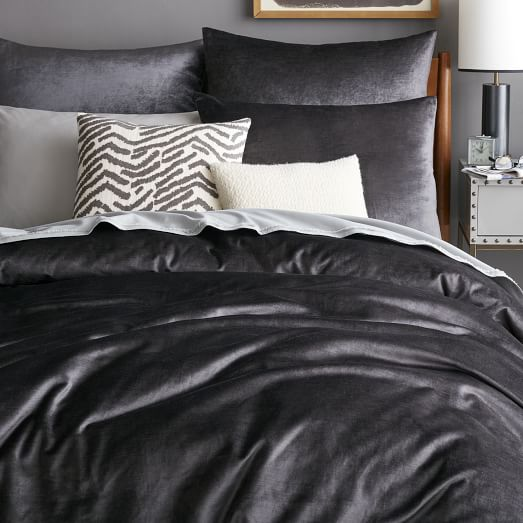 Washed Cotton Luster Velvet Duvet Cover Shams Slate