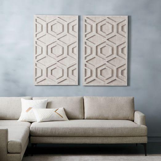 Whitewashed Wood Wall Art Hexagon West Elm