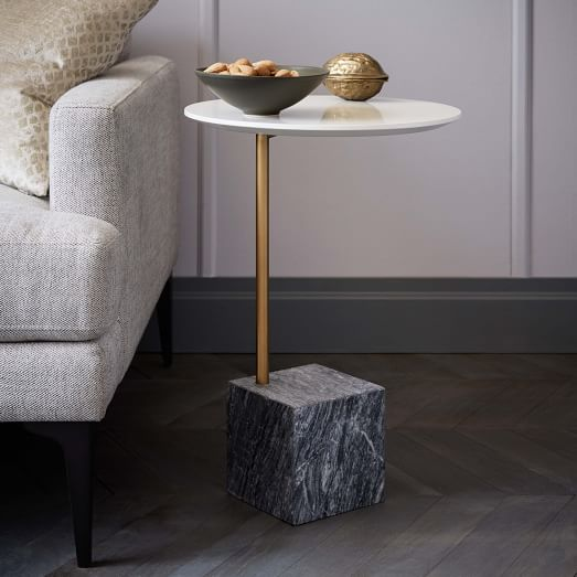 Cube side table white gray marble west elm for Cube side table