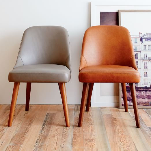 mid century leather dining chair west elm. Black Bedroom Furniture Sets. Home Design Ideas