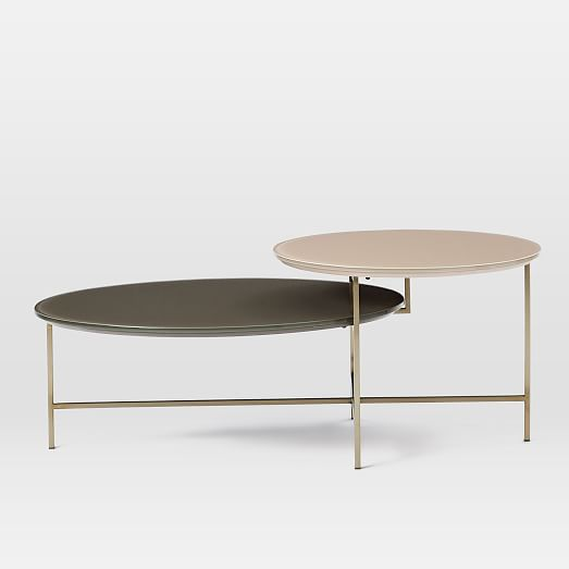 glass geo stepped coffee table west elm