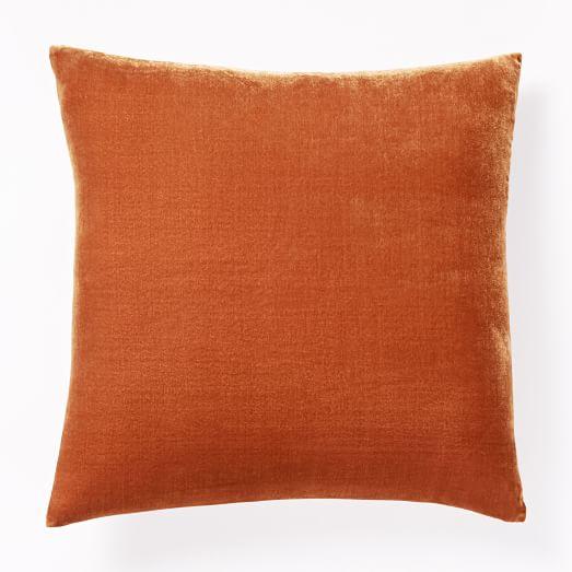 luxe velvet pillow cover persimmon west elm. Black Bedroom Furniture Sets. Home Design Ideas