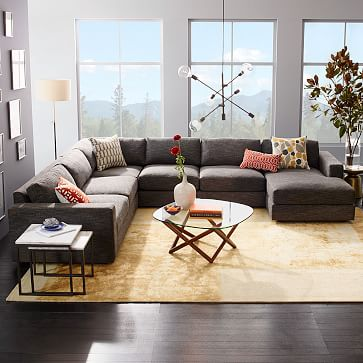 Urban 4 Piece Chaise Sectional Large Charcoal