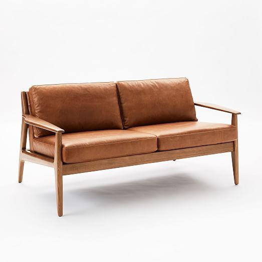 Mathias Mid Century Wood Frame Leather Loveseat 66 West Elm