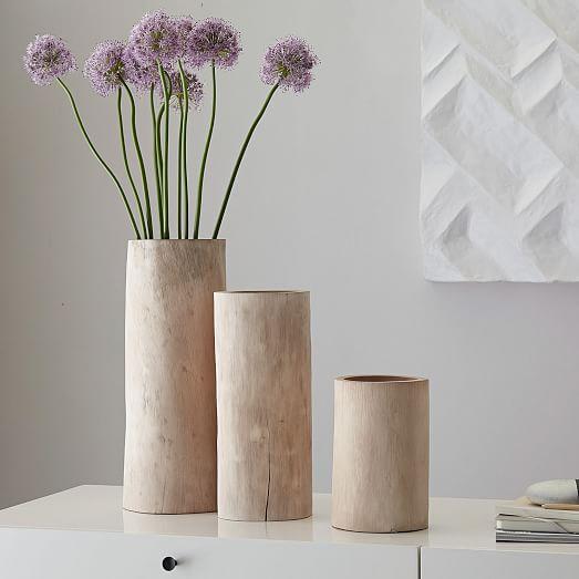 Bleached Wood Vases West Elm