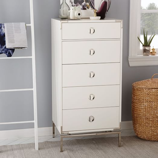 Tall Dresser Drawers ~ Malone campaign drawer tall dresser white lacquer