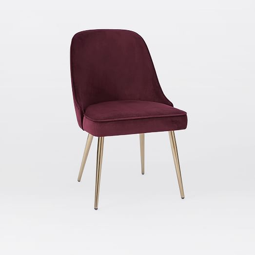 Mid century upholstered dining chair - Mid Century Upholstered Dining Chair Velvet West Elm
