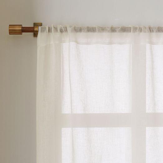 Sheer linen curtain ivory west elm for Linen sheer window panels
