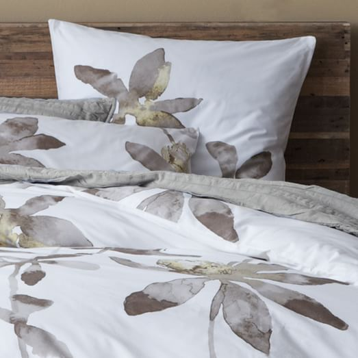 Organic Orchid Duvet Cover, Twin, Citron