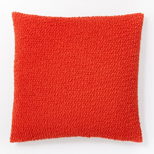 Cozy boucle pillow cover tomato west elm for Cup cozy pillow