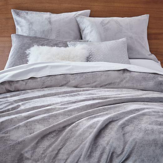 Washed Cotton Luster Velvet Duvet Cover Shams Platinum