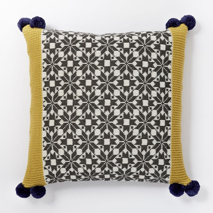 Fair Isle Colorblock Pillow Cover