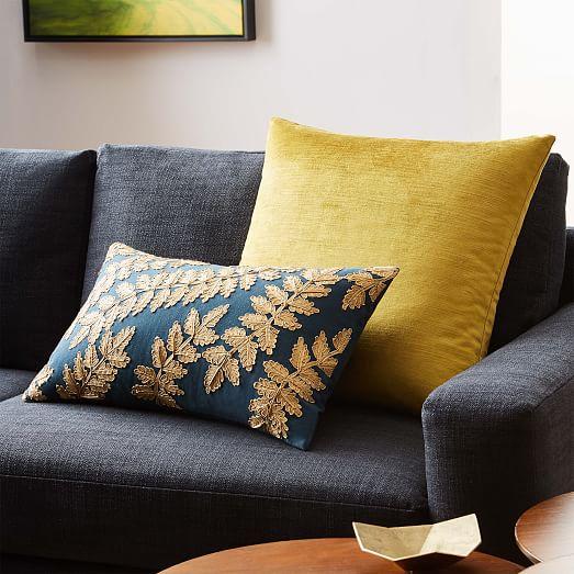 Metallic Laurel Leaves Pillow Cover Regal Blue West Elm