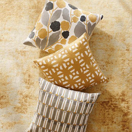 Modern Crewel Lattice Pillow Cover - Horseradish west elm