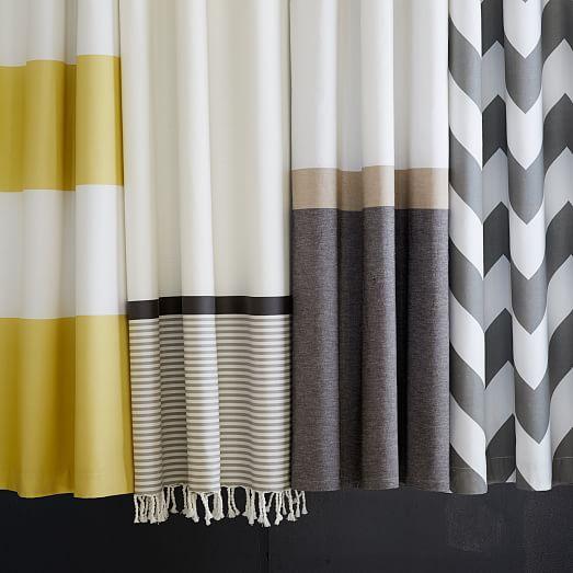 Slate Horizon Stripe Shower Curtain West Elm
