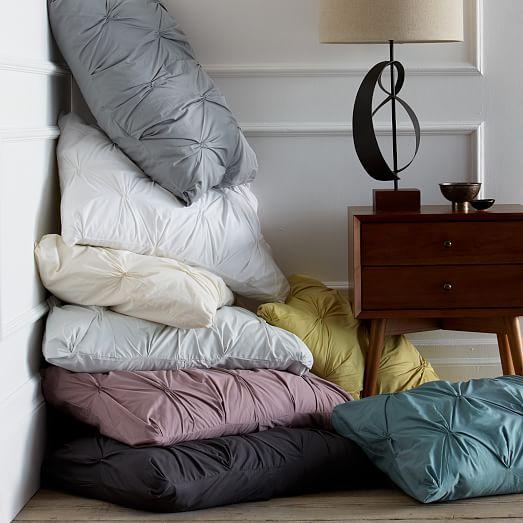 organic cotton pintuck duvet cover shams slate west elm. Black Bedroom Furniture Sets. Home Design Ideas