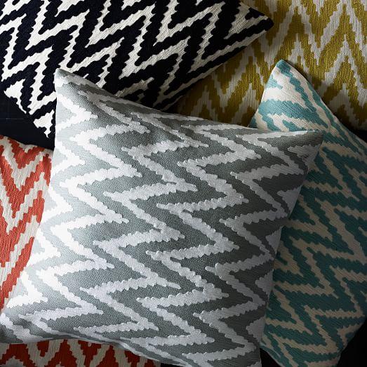 Chevron Crewel Pillow Cover - Iron