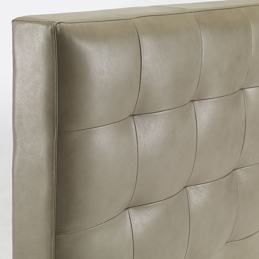 Leather Grid Tufted Headboard West Elm
