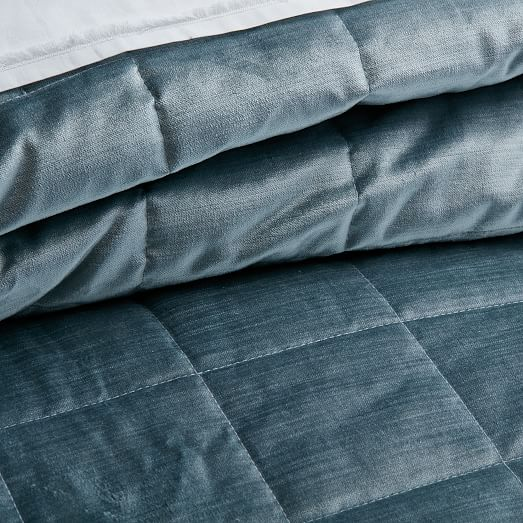 Washed Cotton Luster Velvet Quilt Shams West Elm