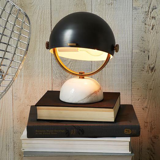 clint mini task lamp antique bronze marble west elm. Black Bedroom Furniture Sets. Home Design Ideas