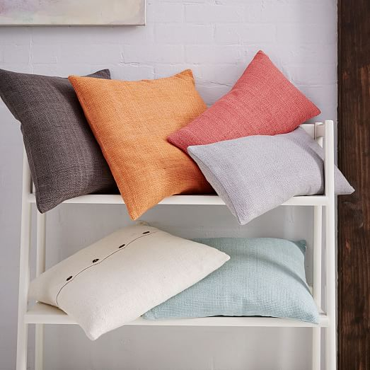 Silk Hand Loomed Pillow Cover Apricot West Elm