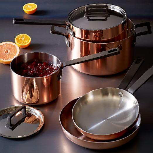 tri ply copper cookware 8 piece set west elm. Black Bedroom Furniture Sets. Home Design Ideas