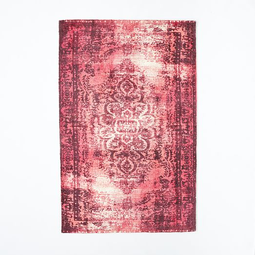 Distressed Arabesque Wool Rug Shockwave West Elm