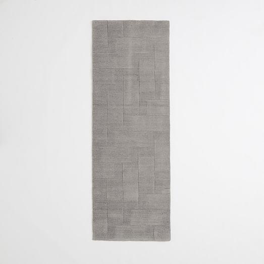 Solid Angled Basketweave Wool Rug Platinum West Elm