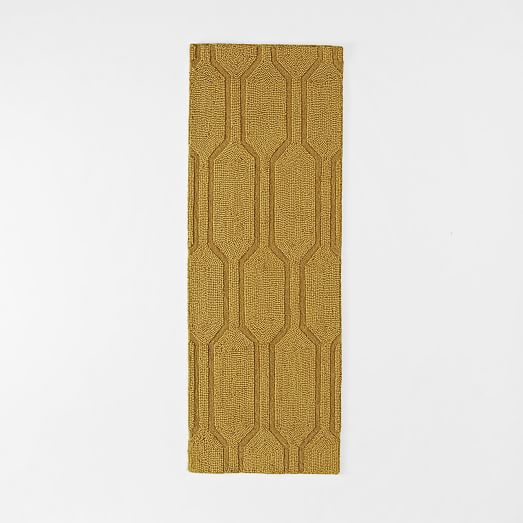 Honeycomb Textured Wool Rug Horseradish West Elm