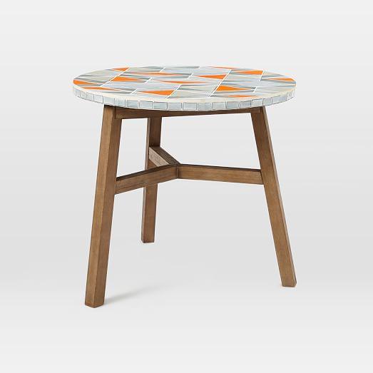 Mosaic tiled bistro table mid century orange top west elm for Mid century bistro table