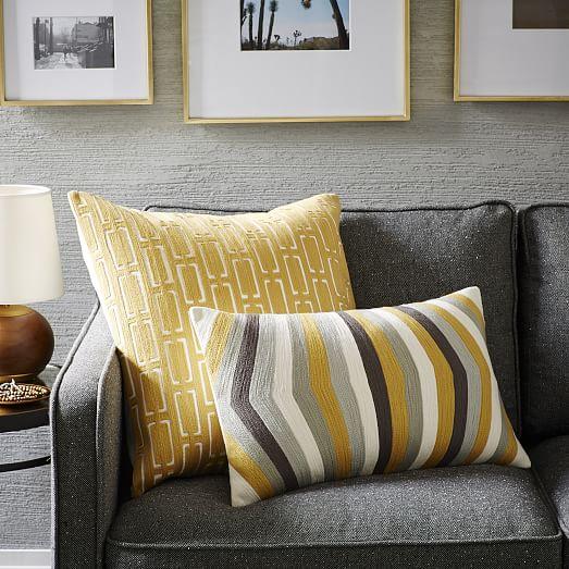 Mid Century Crewel Bracket Geo Pillow Cover - Horseradish west elm